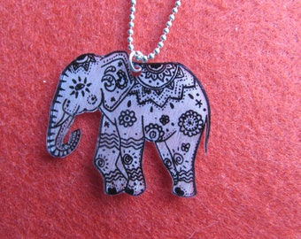 black and white elephant pendant