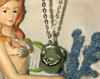 Sea glass inspired and mermaid pendant necklace