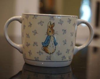 1996 Wedgwood Peter Rabbit 2 Handled Cup/ Child's Mug/ Beatrix Potter/ Made in England/ Bunny/ Rabbit
