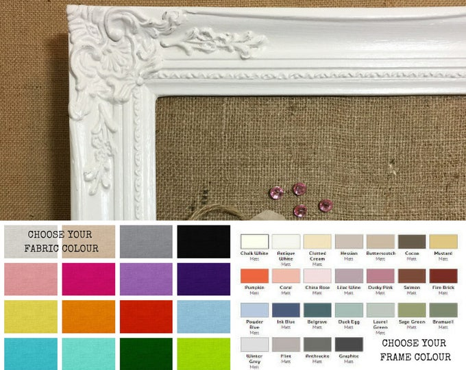 Featured listing image: Extra Large Pinboard | Framed Burlap Board | Ornate Noticeboard | Large Pin Board | Large Wedding Board | Custom Colours | Made To Order