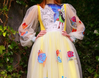 Embroidered Dress with unique illustration
