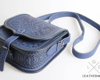 Genuine leather bag Tooled leather bag Leather purse Leather bag Shoulder bag Crossbody bag Blue bag Messenger bag Vintage bag  Women's bag