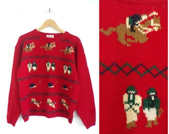 80s Wool Equestrian Sweater Jockey Horse Sweater Animal Dressage Pullover Crew Neck Horseback Riding Horse Racing Womens Jumper Large