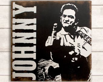 Johnny Cash Sign; Johnny Cash Art; Johnny Cash Wall Art; Johnny Cash Wood Art; Folsom Prison Wood Sign; Vintage Country Music Sign,