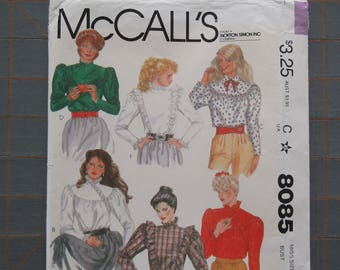 1982 McCall's 8085 Gathered Pullover Blouse Top Shirt w Ruffles Pattern Misses Size 12 UNCUT
