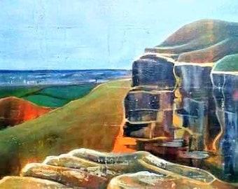 Eston Hills - original acrylic painting on canvas, 30 x 100cm