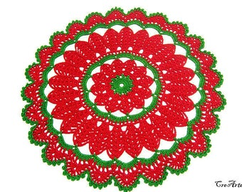 Crochet Christmas doily, Green and Red Christmas doily, Centrino Natale