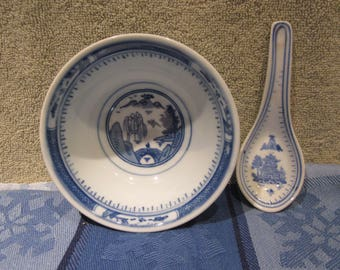 Chinese Pagoda Rare  Rice Soup  Bowl,Spoon Blue White   Vintage Chinese Marking