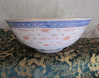 """Chinese  Rice Grain Serving Large  Bowl 9 7/8 """" Wide Red Out Side Hand Painted details  Inside lotus Flower Red Circle marks Gold Rim"""
