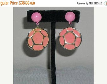 Sale Vintage 60s 70s Atomic Space-age Pink Silver Round Geometric Drop Dangle Stainless Steel Earrings