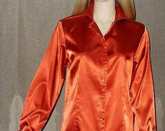 Vintage 90s Kathie Lee Collection Evening Red Polyester Womens Long Sleeve Blouse Shirt Top