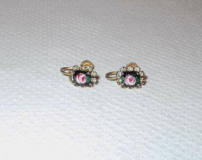Vintage 70s Black Pink Green Flower Floral Glass Rhinestone Boho Hippie Chic Screw Back Huggie Earrings