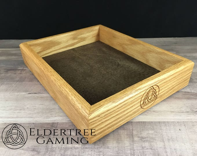 Premium Dice Tray - Table Top Sized - Red Oak with Suede Fabric or Leather Rolling Surface - Eldertree Gaming