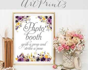 Photo Booth Sign, Printable Rustic Wedding Sign, Grab A Prop & Strike A Pose, Wedding Sign, Birthday Party Sign, Party Decor