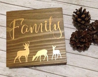 Family stag plaque, rustic free standing block, stag plaque, rustic stag decor, wooden block, family gift, stag gift