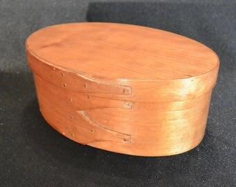 Oval Shaker Box, Cherry Wood Shaker Box, Shaker Box #3, Lidded Wooden Box, Button Box, Sewing Box, Trinket Box