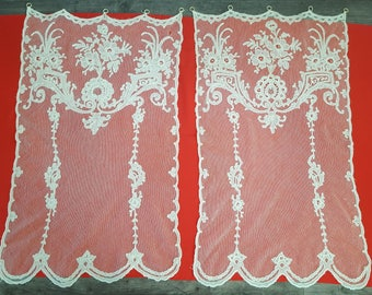 Pair of vintage curtains application Cornely embroidery tulle lace - 12560