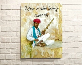 """NEW. Indian Musician photo .6""""x8"""" wooden tile"""