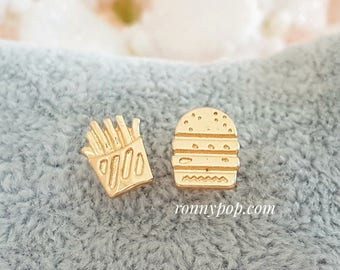 Hamburger and Fries Earrings - Burger Jewelry - French Fries - Restaurant - Fast Food - Server Gift - Silver - Gold - Dainty - Gift Ideas