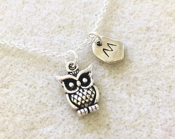 Personalized tiny owl necklace owl gifts owl lover gift owl jewelry owl theme party favors owl favors owl gifts women owl pendant necklace