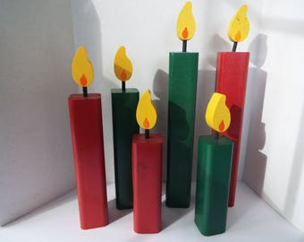 set of 6 handmade wooden candles Christmas centerpiece tabletop  mantel red green candles rustic