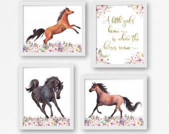 Horse theme nursery etsy horse nursery set of 4 watercolour horse wildflowers western theme baby negle Choice Image