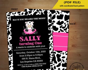 Moos & Tutus cow birthday bash invitation ballerina cow party chalkboard pink girl invite Instant Download YOU EDIT TEXT and print 5869
