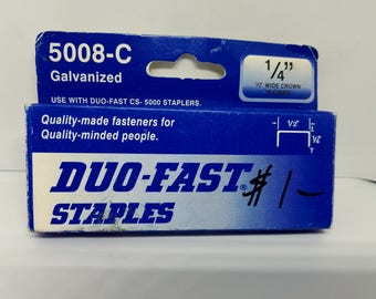Duo-Fast Staples 5008-C - 1000 Staples - 1/4 Inch Length - 1/2 Inch Wide Crown - 20 Gauge - Galvanized *CLEARANCE SALE*