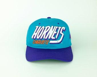 Vintage 90s Charlotte HORNETS NBA Basketball Snap Back Hat - Rare 1990s Aqua Berry All Over Print Hat