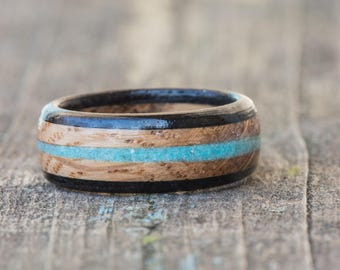 Whiskey Barrel and Ebony Wood Ring with Turquoise Inlay - Tennessee Whiskey Barrel Wedding Band Mens Engagement Ring Wood Anniversary Wooden