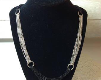 Silvertone and Black Alternating Chain Necklace Long Necklace Chain Necklace Costume Jewelry Costume Jewelry Love