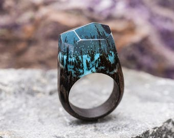 Wooden resin ring Soul of the Forest Eco epoxy jewelry Green Wood the secret of the magical world in a tiny landscape Glows in the dark