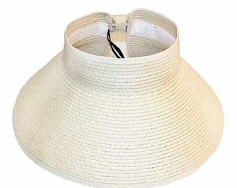 White Rollup Visor Hat