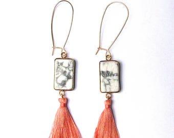 Gorgeous White Pink Tassel Drop Dangle Earrings