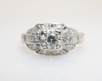 Vintage Art Deco Old European Cut Diamond Engagement Ring .63CTW