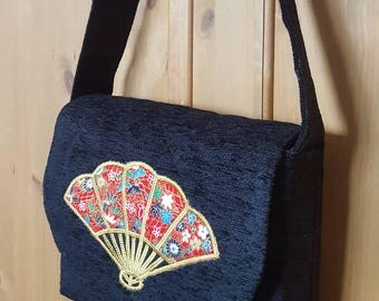 Hand made quilted messenger bag with fan applique in Japanese fabric