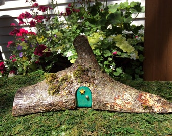 Mini Pixie Woodland Fairy House with Turquoise Front Door and Basement Suite