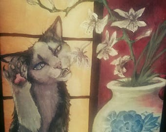 Cat and Orchids