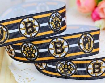 "5 Yards 7/8"" Boston Bruins Grosgrain Ribbon Crafts Bows Scrapbooking"