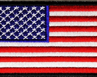 US Flag Black Border Patch 3 Inch - By Ivamis Trading - 3x2 inch P2046B