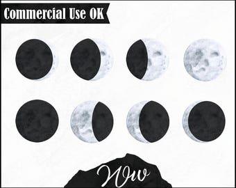 Lunar Moon Phases Watercolour Digital Clip Art Printable Download