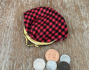 Vintage Red and Black Checkered Coin Purse