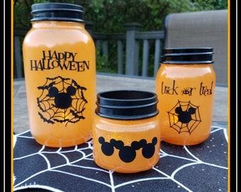 Halloween, mason jar, mouse, orange, holiday, party, decor, Happy Halloween, bats, spider web,, glass,