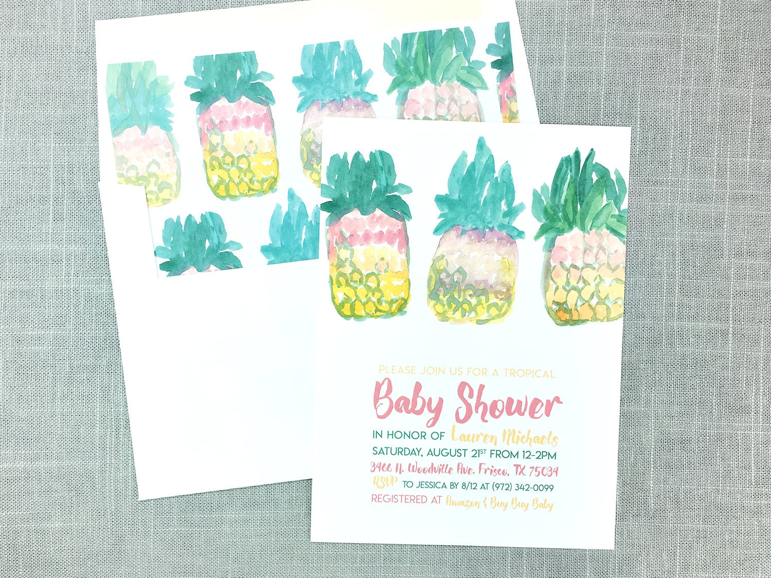 Pineapple Baby Shower Invitations, Tropical Invites, Luau Baby ...