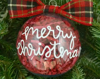 Merry Christmas Ornament with Bow