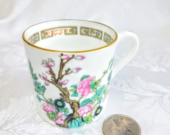 Vintage Hammersley and Co Fine Bone China Tea cup, Asian Pink Teal Flower Demitasse, Cherry Blossom Teacup, Mismatch Cup, Shabby Chic