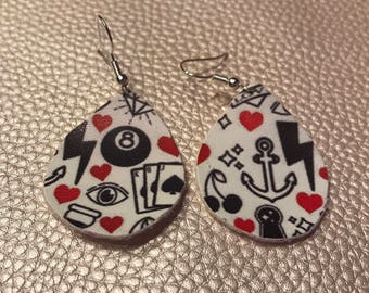 Valentines day tear drop faux leather earrings, mommy and me match,