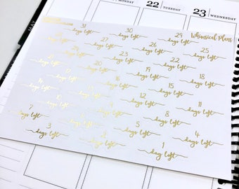 Countdown FOIL | Matte Glossy Clear Foiled Planner Stickers