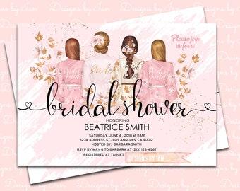 Bridal Shower Printable Invitation  (5x7 inches)