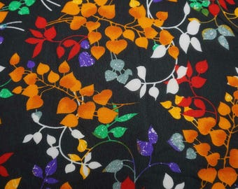 """Black Georgette Material, Leaf Print, Dressmaking Fabric, Home Decoration, 44"""" Inch Georgette Fabric By The Yard ZGF121C"""